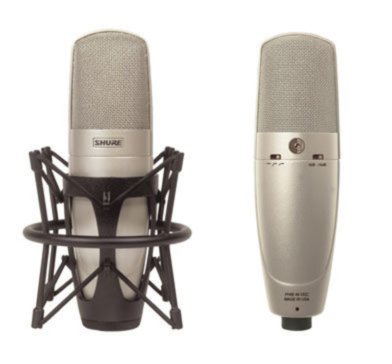 Two views of the KSM32 Microphone showing it in a shock mount and rear control switches