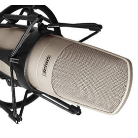 Close up of the  KSM32 Microphone grille in a shock mount