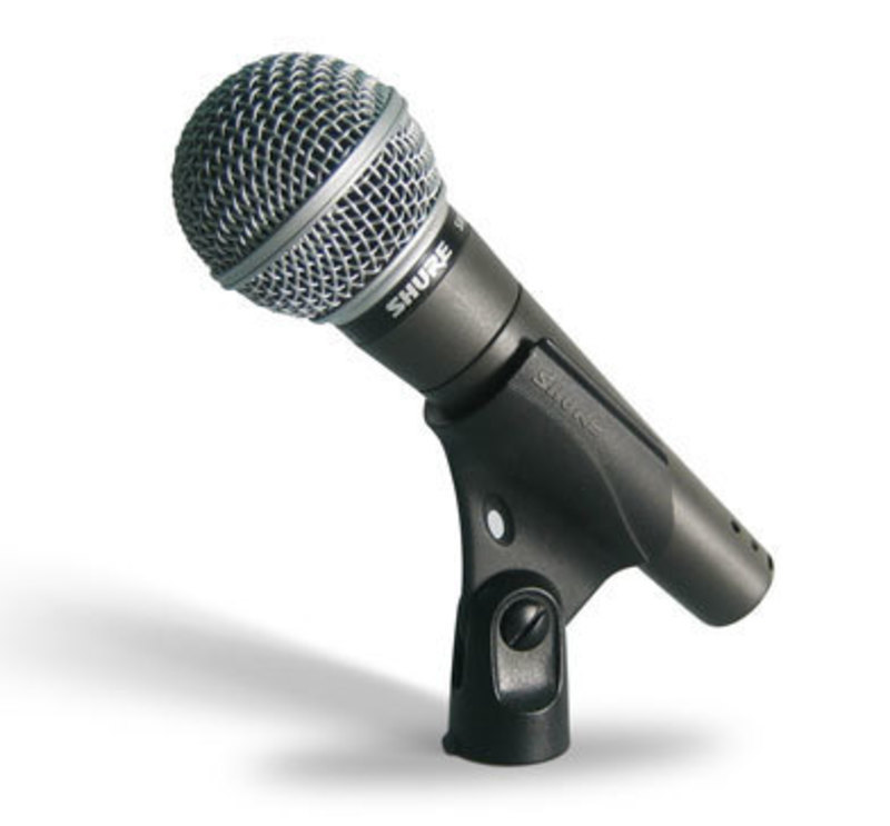 Side view of SM58 Microphone mounted in the microphone stand