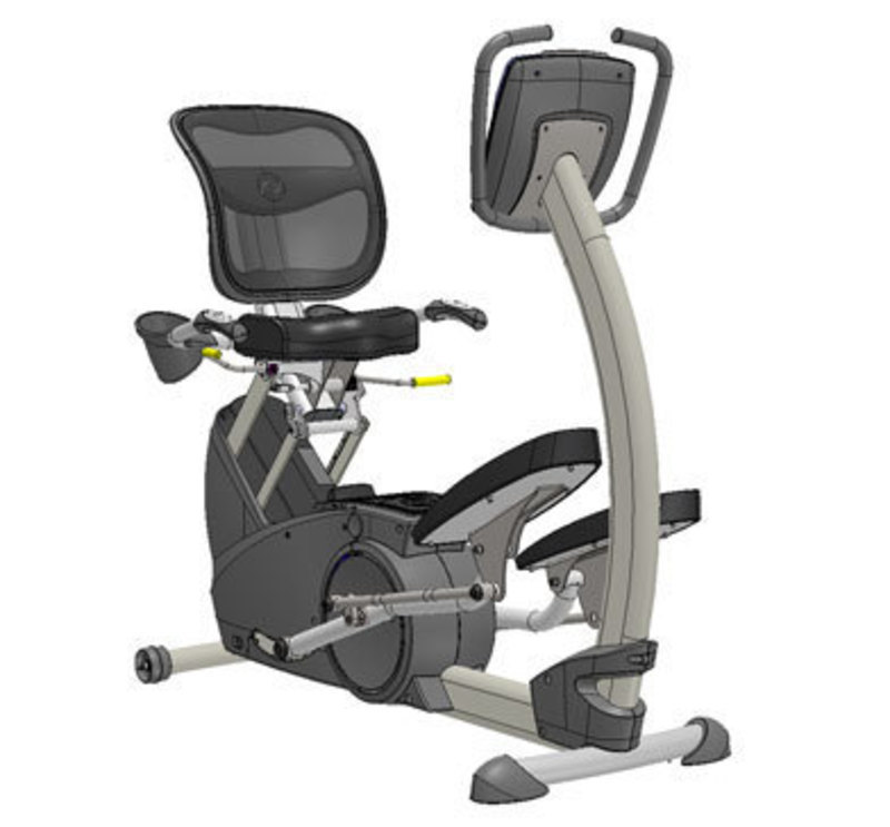 Three quarters front view of the initial design of the xR3 elliptical machine