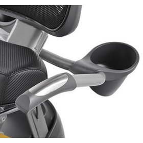 Close up view of the cup holder on the xR3 series elliptical machine