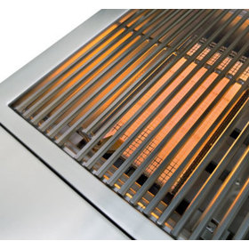 Grill surface exposed with burners on