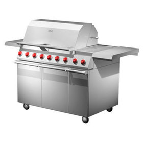 Three quarters front view of the gas 36 inch gas grill