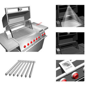 Collage of images showing additional features the grill has like lights and readouts