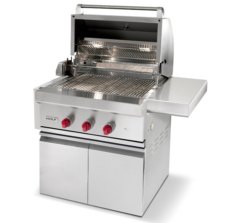 Three quarters front view of the 30 inch gas grill with hatch open
