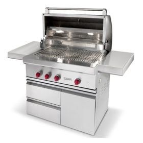 Three quarters front view of the 30 inch gas grill with hatch open and side tables extended