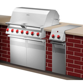 Concept rendering showing the gas grill and a small side burner unit built in next to it