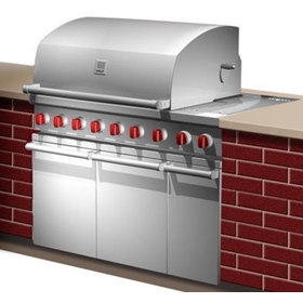Concept rendering showing a gas grill with side burner built into a counter