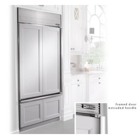 Built in refrigerator with a framed cabinet style covering
