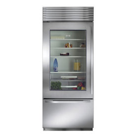 Front view rendering of the over under refrigerator with window and stainless steel finish