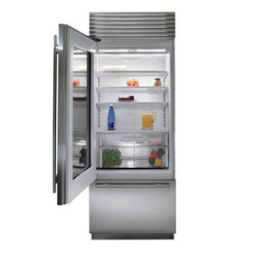 Front view rendering of the over under refrigerator with door open and stainless steel finish