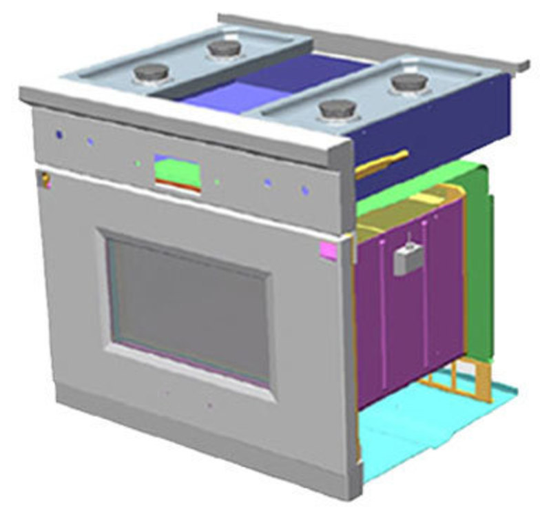 SolidWorks view showing how new sheet metal components interact with new internal components