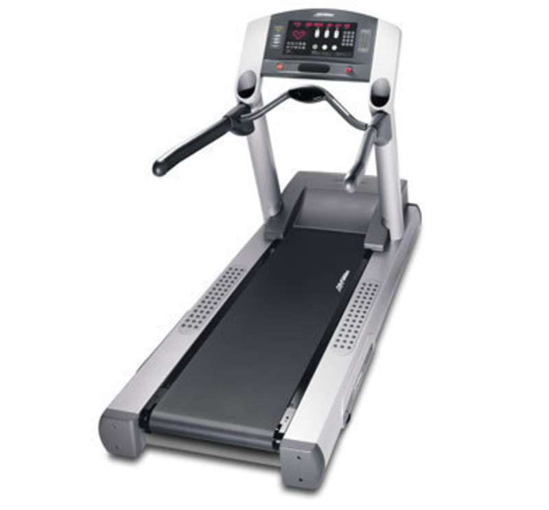Three quarters front view of the classic series treadmill