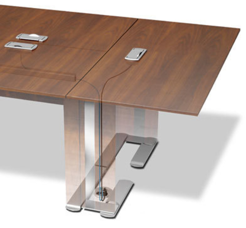 Rendering of the table with a transparent leg showing where the wires travel through