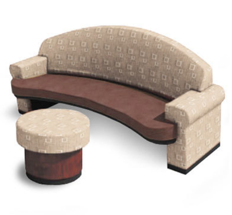 The striking line couch with similarly styled ottoman