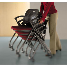 Image showing a user pushing a stack of Get Set Chairs