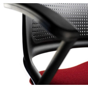Detail view showing the dot pattern on the back rest of the Get Set chair