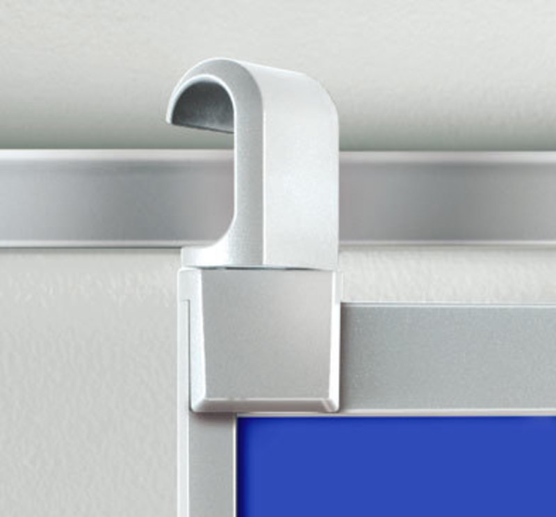 Detail view showing the hooks used by the Get Set presentation board system interact with the wall rails