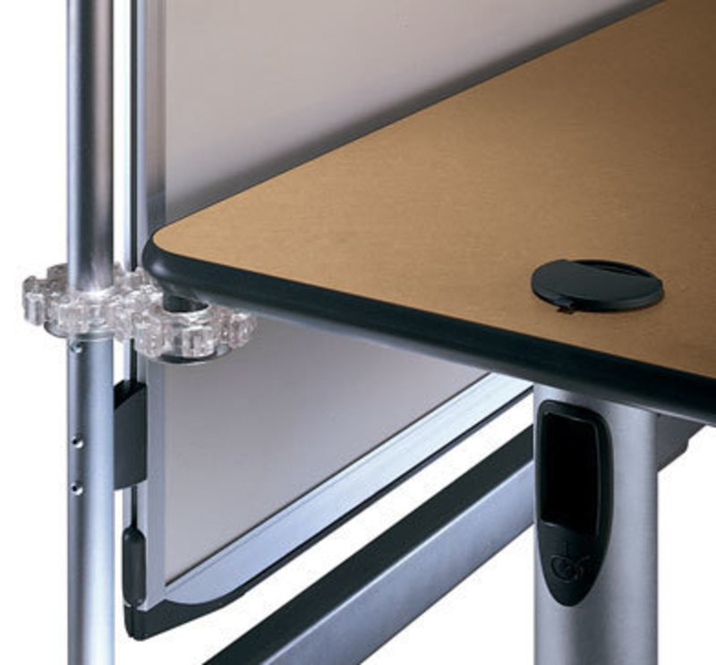 Close up view showing how the interlock system can attach a Here table to a Here display board