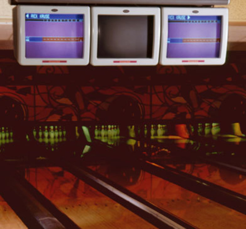 Image showing overhead scorers at a bowling alley