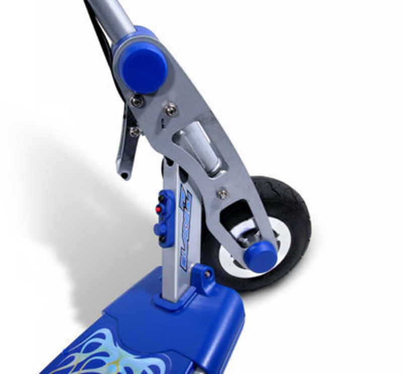 Detail view of the steering column of the ION 350 electric scooter