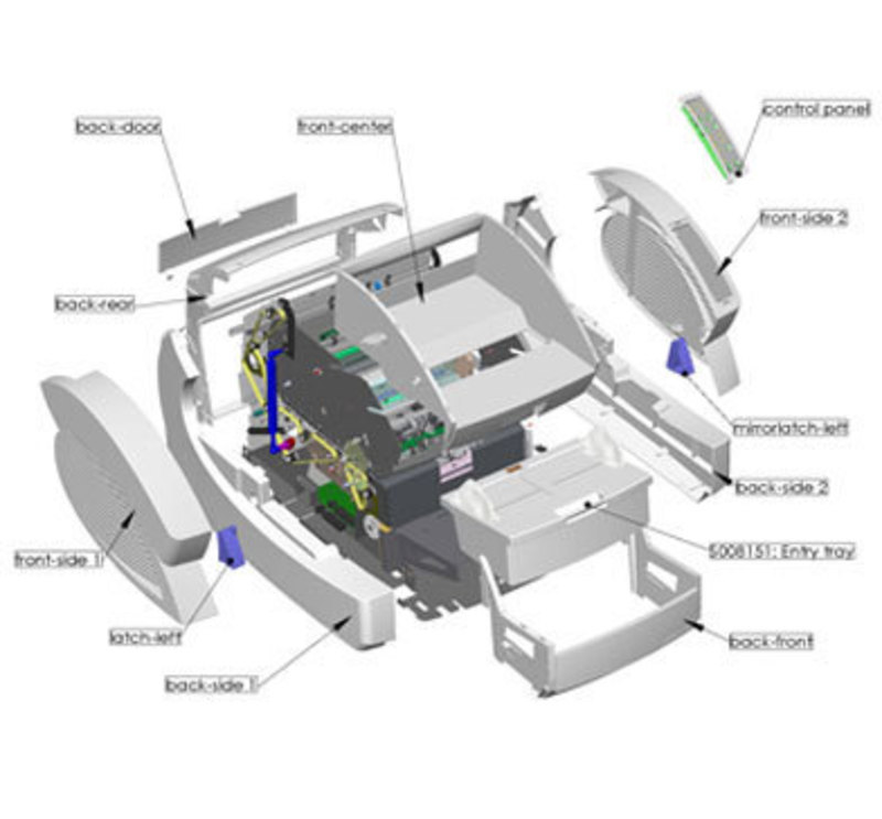 SolidWorks exploded view of the Ngenuity Scanner outer enclosure
