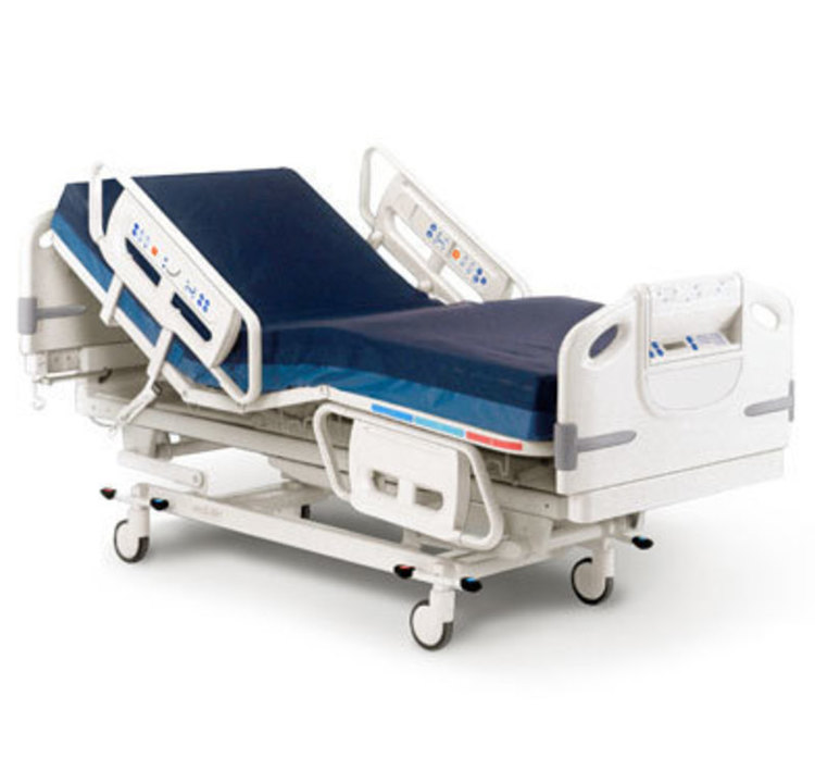 Three quarters front view of Advanta Hospital Bed in an angled orientation