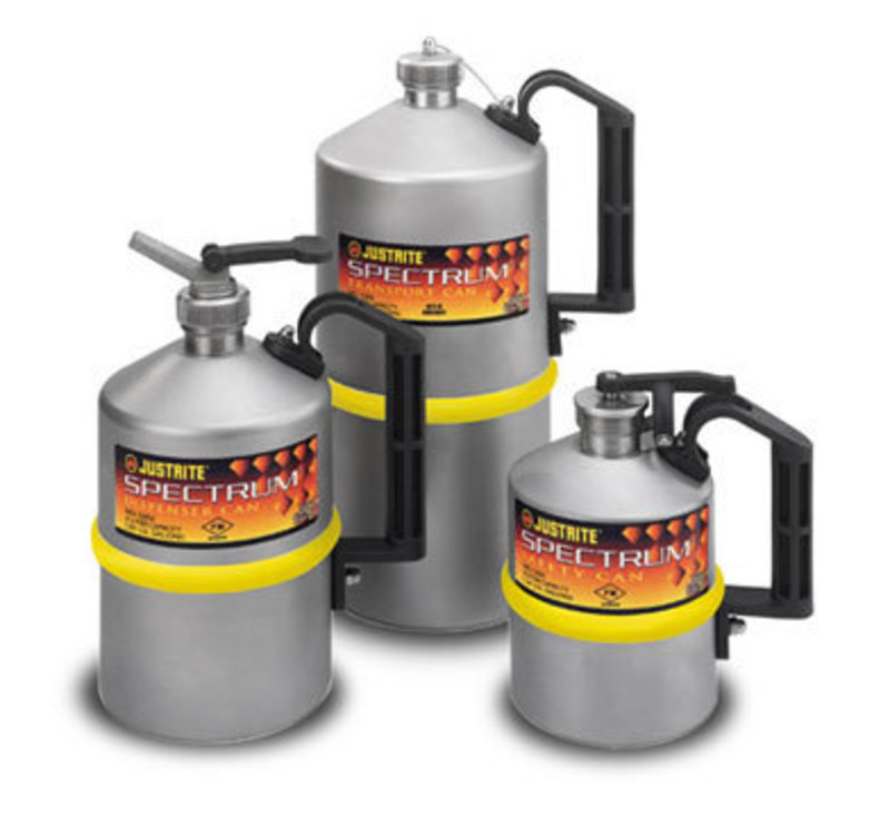Justrite spectrum stainless steel cans 8l