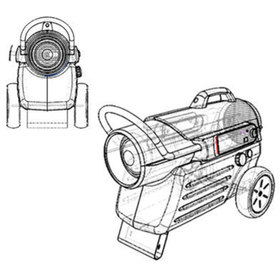 Transparent line drawing view of the Dyna-Glo Delux heater
