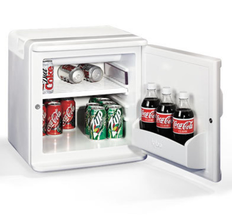 Three quarters front view of the small sized refrigerator with the door open with beverages inside