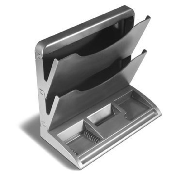 Overhead view of the Newell Rubbermaid desk organizer