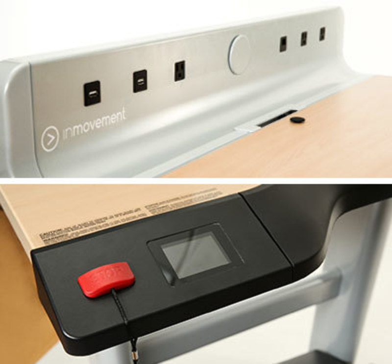 Detail view of InMovement's charging ports and emergency stop