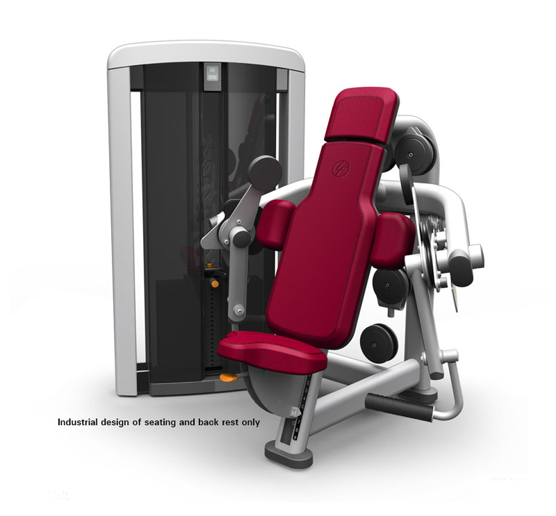 In context view of the Hancock saddle seat on a Bicep curl machine