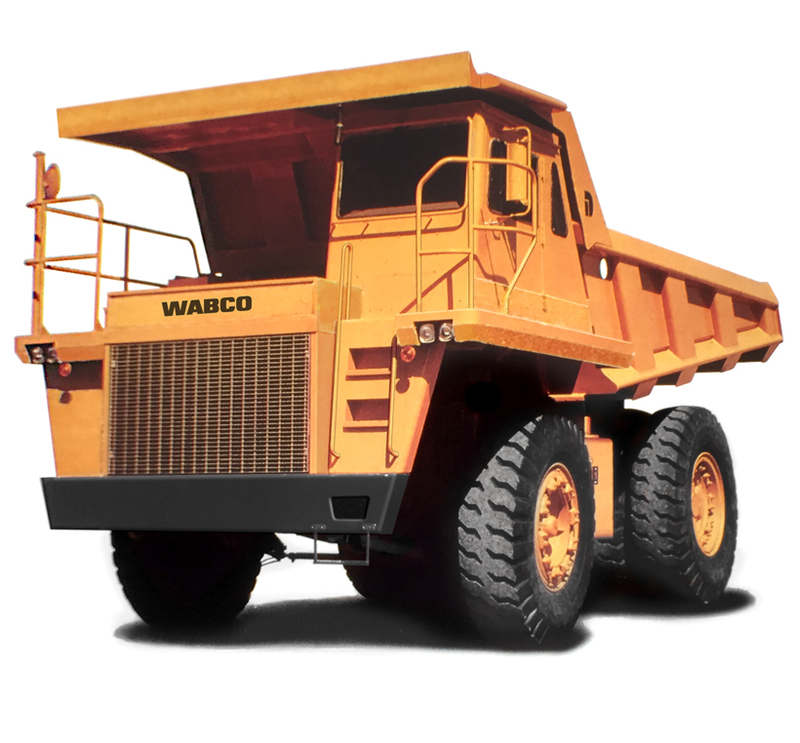 Three quarters front view of the Final production version of the Komatsu Dump truck