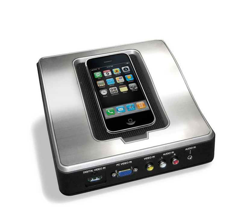 Front three-quarters view of the Remote Jack Pack showing connected iPhone and ports