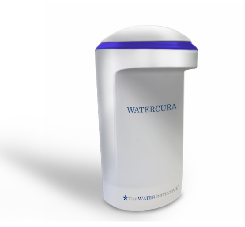 Three quarters front view of the final design for the WaterCura water filter