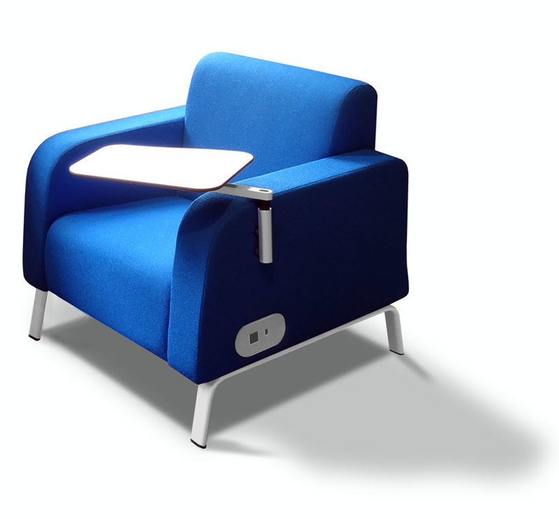 Three quarters front view of the Motiv soft chair with work surface