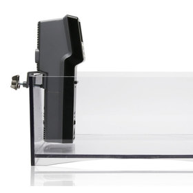 Side view of the PolyScience: Sous Vide Professional showing the clamp that holds it to the lip of a container