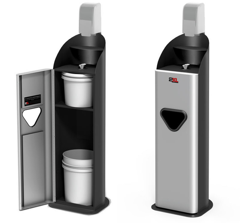 Two three quarters front views of the guardian gym wipe dispenser with access door open and closed