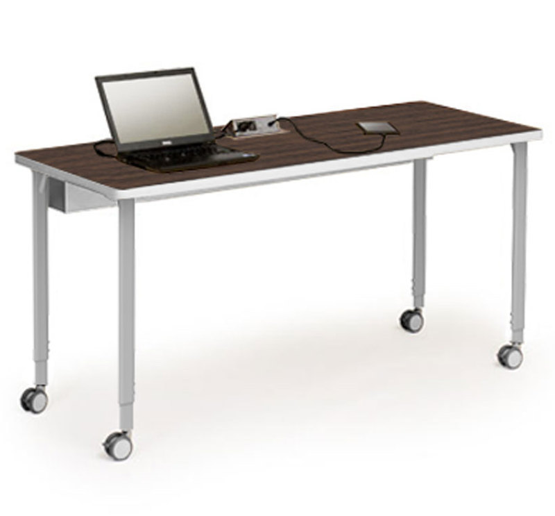 Three quarters front view of the Rectangular table shape with laptop and tablet on top