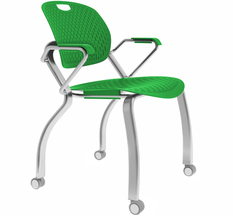 Three quarters front view of the Explore chair with a green seat and arm rests