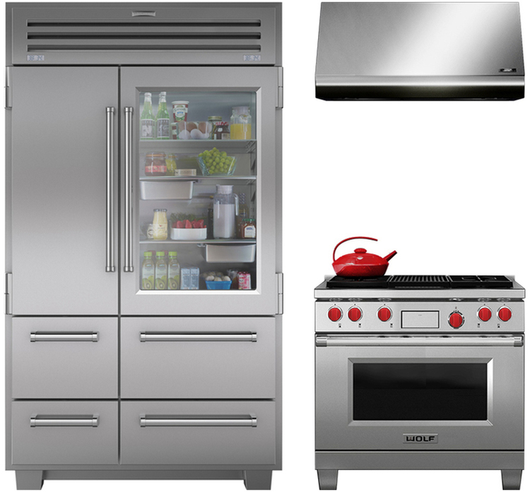Front view of a Sub-Zero refrigerator and Wolf Oven Pro Series