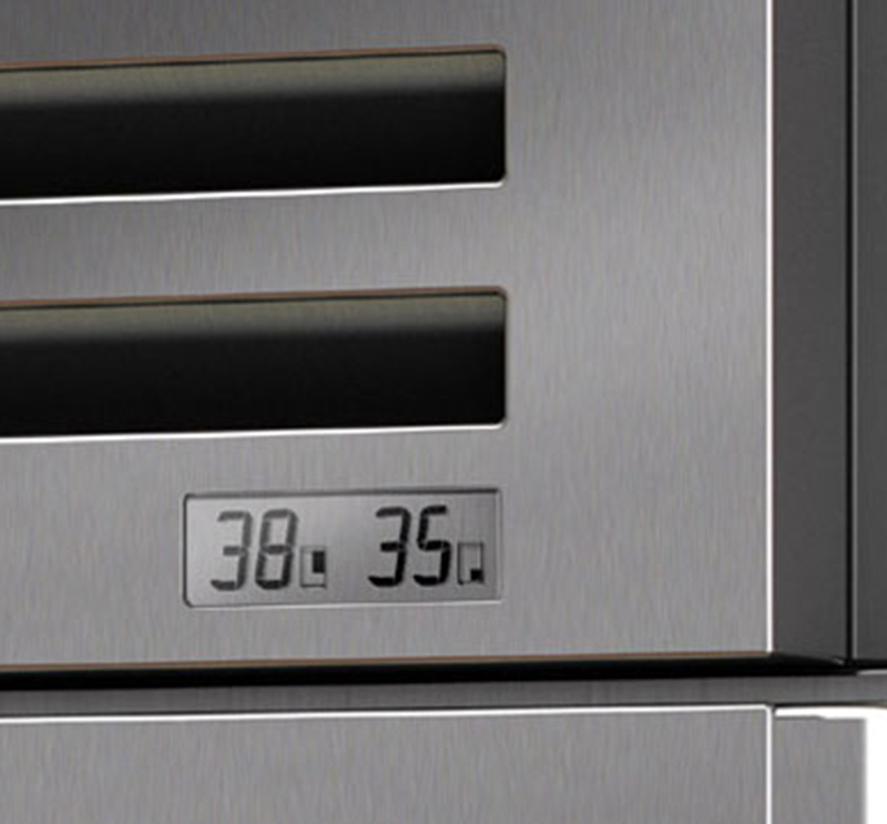Close up of LCD temperature indicator on Sub Zero Refrigerator