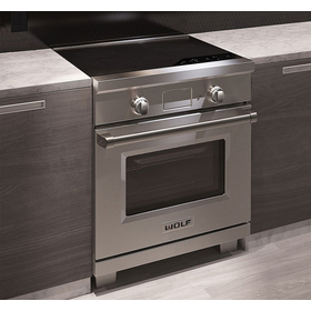 In context view of the Wolf Induction range installed in a kitchen