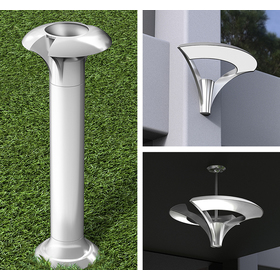 Collage showing the selected concept style applied to bollard, sconce and chandelier fixtures