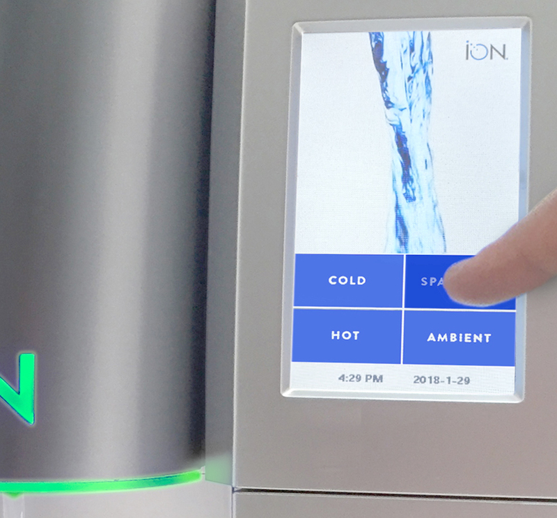 Close up of the ION water cooler control screen dispensing sparkling water