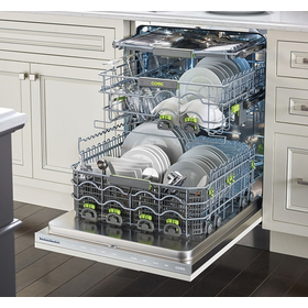 Perspective view of the Cove with the dishwasher loaded with clean items