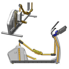 Side and overhead CAD drawings for the X7 elliptical
