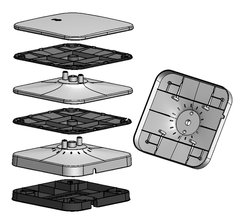 Exploded view of the plastic enclosure for the LG home gateway