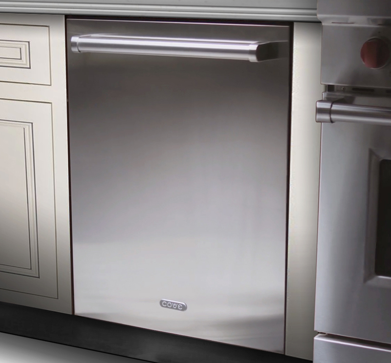 Three quarters front view of the Cove Dishwasher integrated into a counter